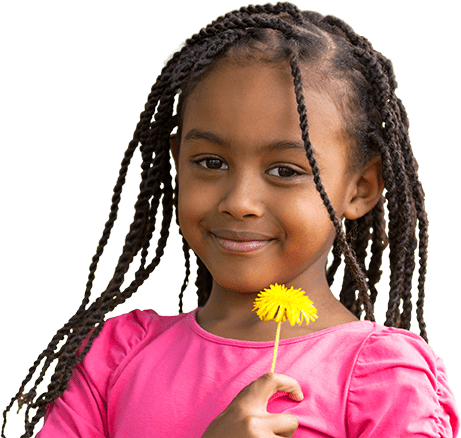African-American girl holding dandelion thinking about her family and their Christian legacy.